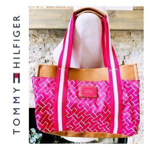 Tommy Hilfiger Hot Pink/Leather Shoulder Bag